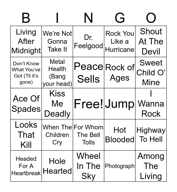 Rock of Ages Bingo Card