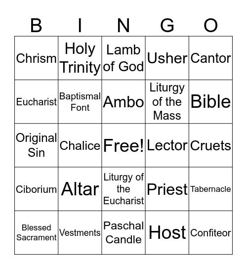 Celebrate the Mass Bingo Card