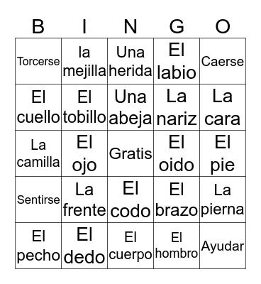 El Hospital Bingo Card