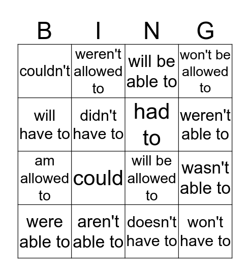 Ability, Permission, Obligation Bingo Card
