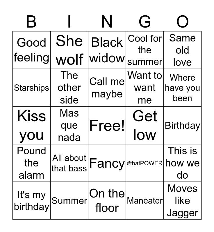 JUST DANCE hits Bingo Card