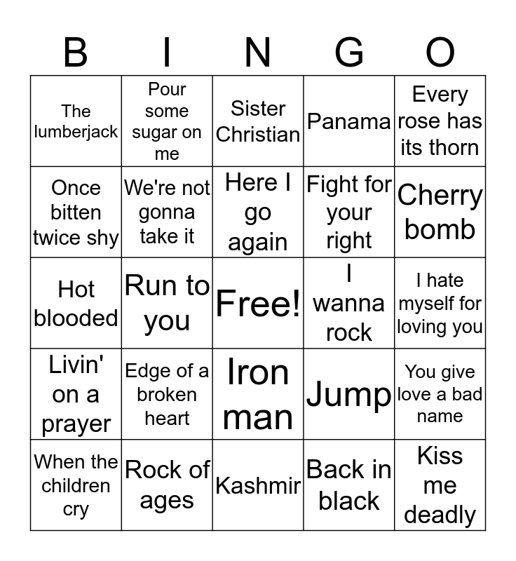 Rock of Ages Bingo Card