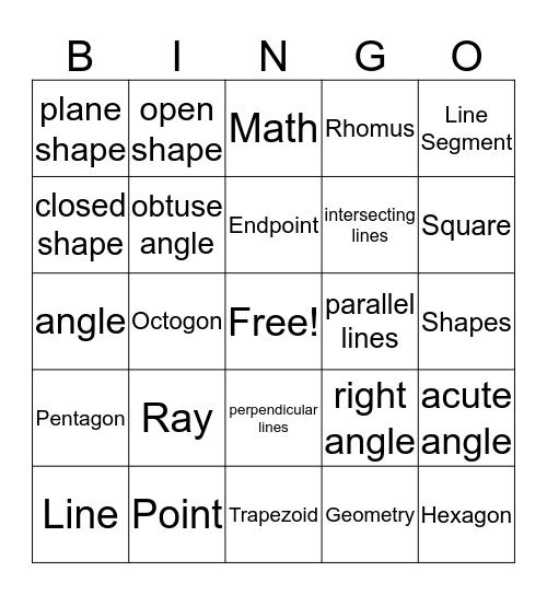 Geometry Bingo Card