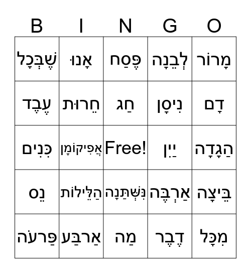 Passover Bingo Card