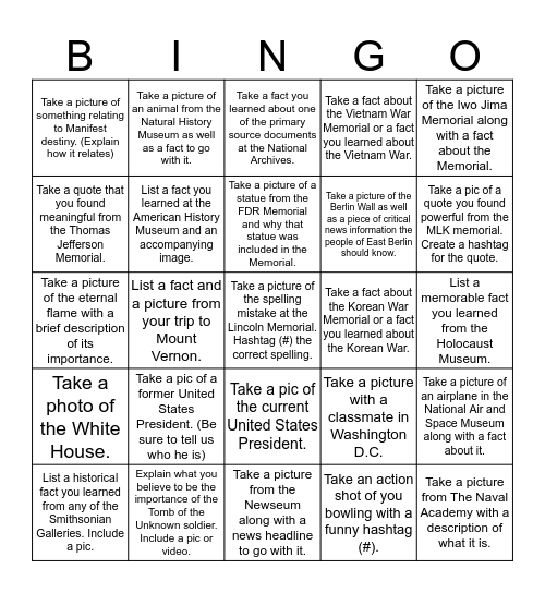 Kinkaid 8th Grade DC Trip (1) Bingo Card
