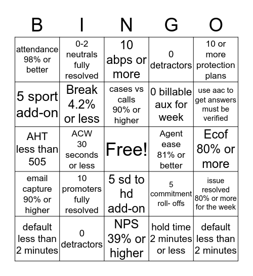 May I Exceed All Expectations!! Bingo Card