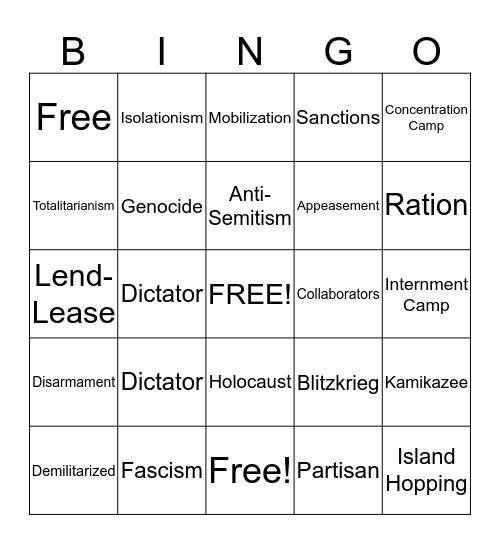 World War II vocablary Bingo Card
