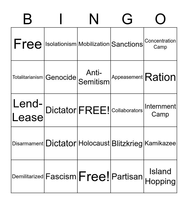 World War II vocablary Bingo Card