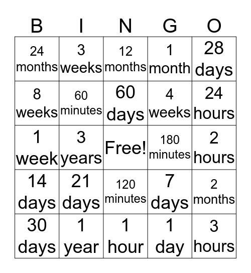 Equal Time Periods Bingo Card