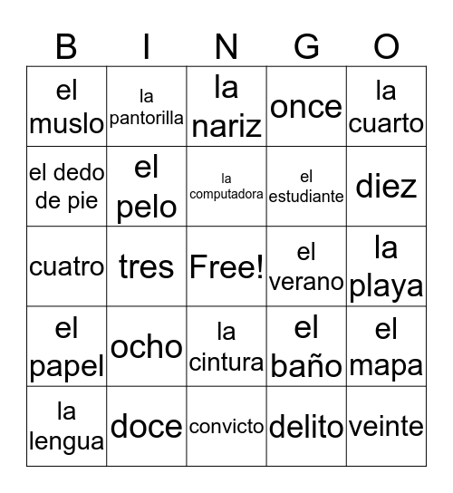 Spanish Bingo Card
