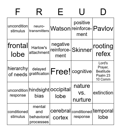 Psychology Final Bingo Card