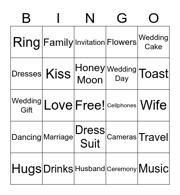 5th Wedding Anniversary Bingo Card