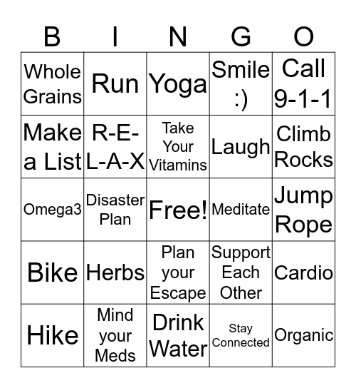 Health & Safety Bingo Card
