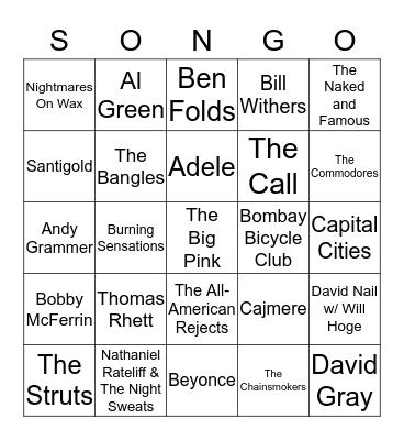 SONGO GAME 3 Bingo Card