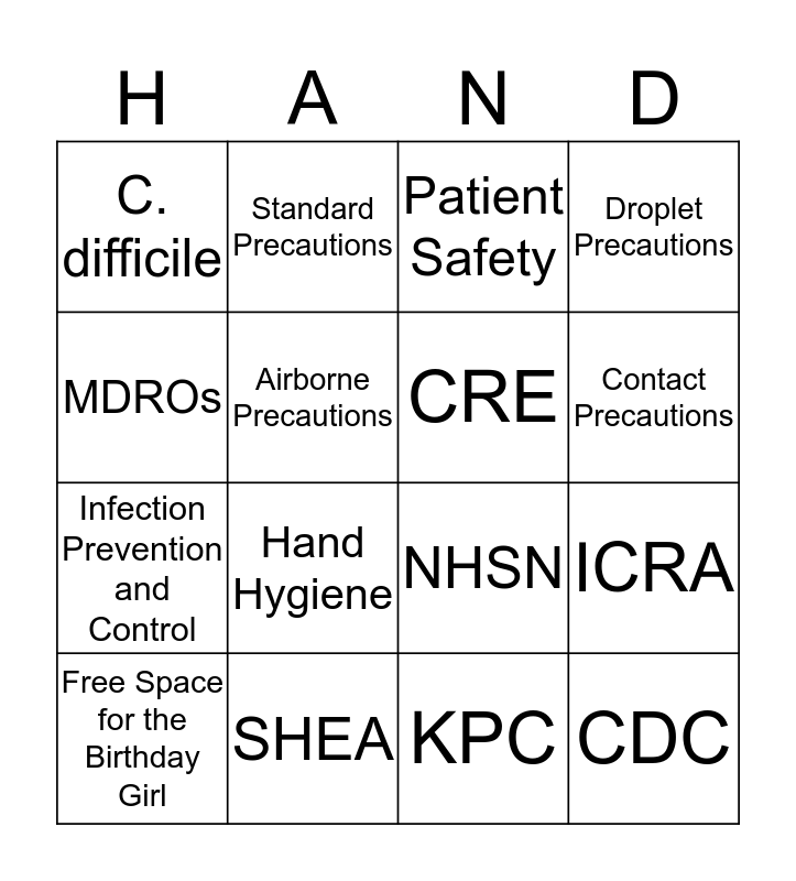Infection Prevention and Control BINGO Card