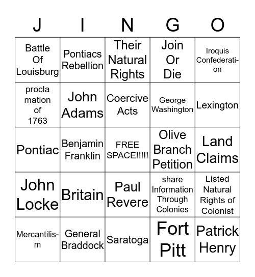 1754-1781 Bingo Card