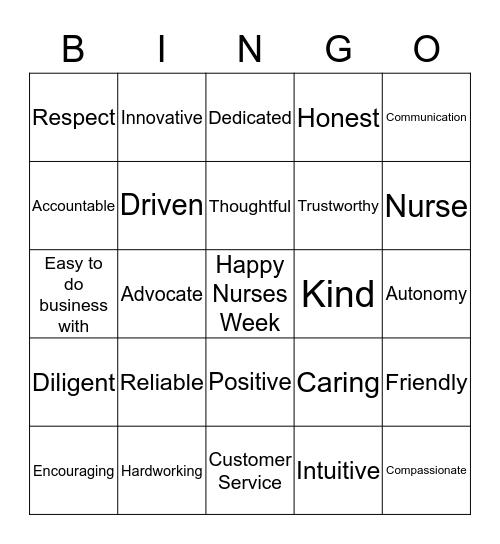 Nurses Week Bingo Card