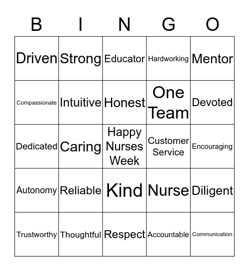 Happy Nurses Week Bingo Card