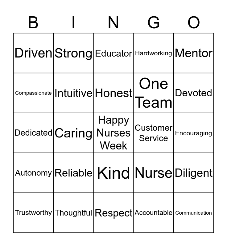Happy Nurses Week Bingo Card