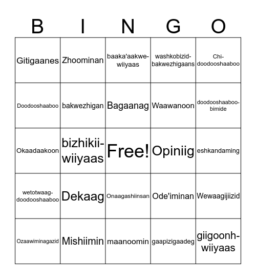 MIIJIM Bingo Card