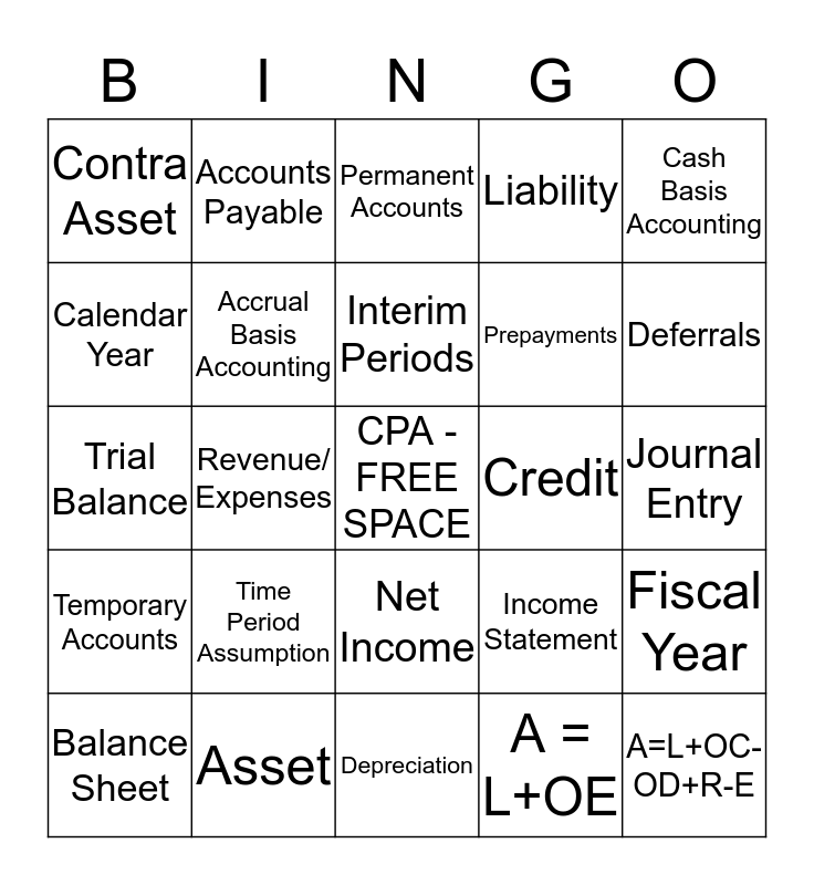 ACCOUNTING IS FUN!! Bingo Card