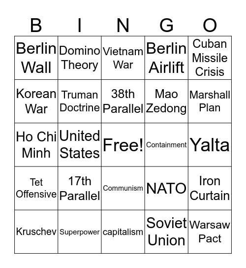 Cold War Review Bingo  Bingo Card