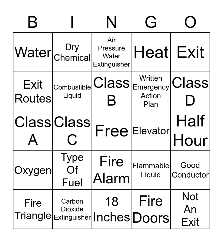 Fire Safety Bingo Card