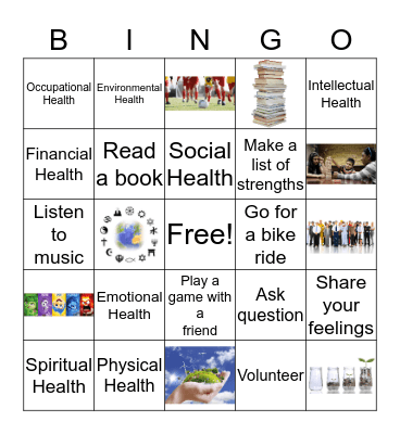 Dimensions of Health Bingo Card