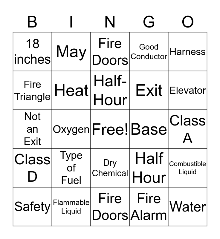 Fire Safety Bingo Card