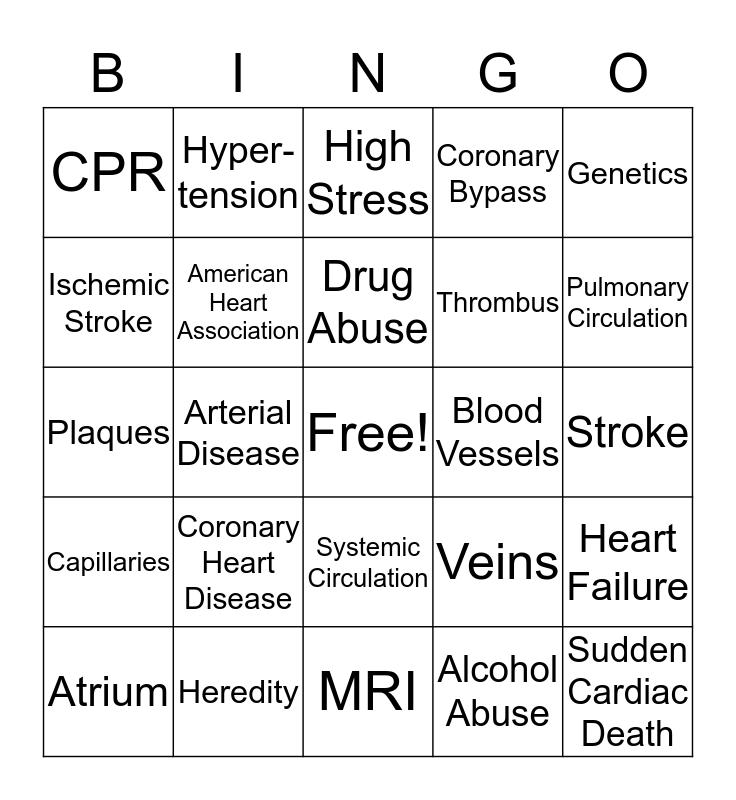 Heart Disease Bingo Card