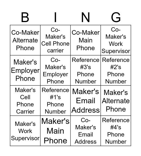 PFC Bingo Card
