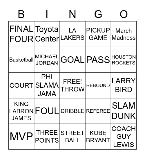NBA BINGO Card