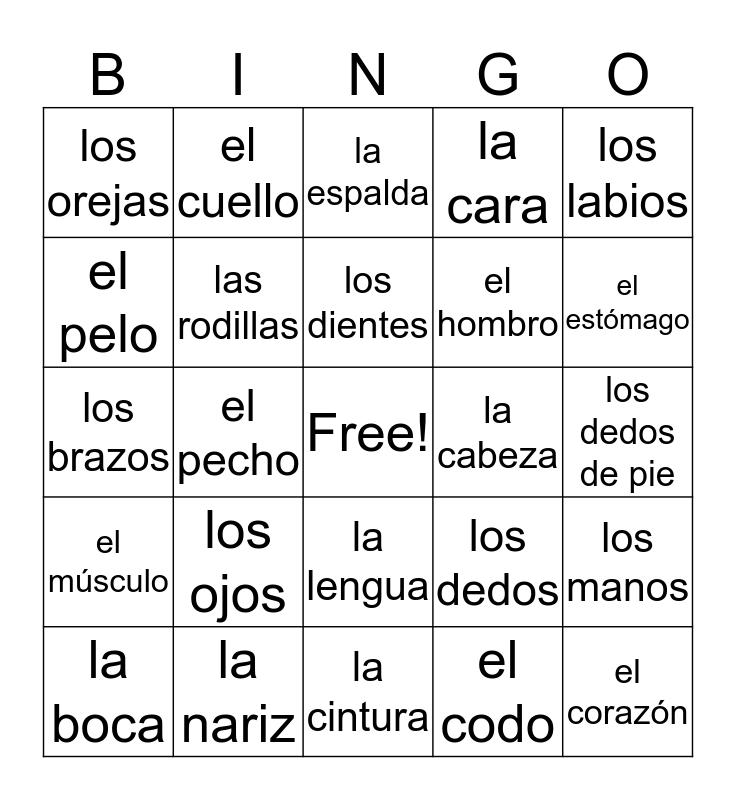 Body Parts Bingo Card