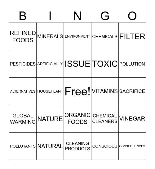 HEALTH AND NATURE Bingo Card