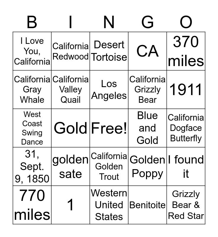 California bingo Card
