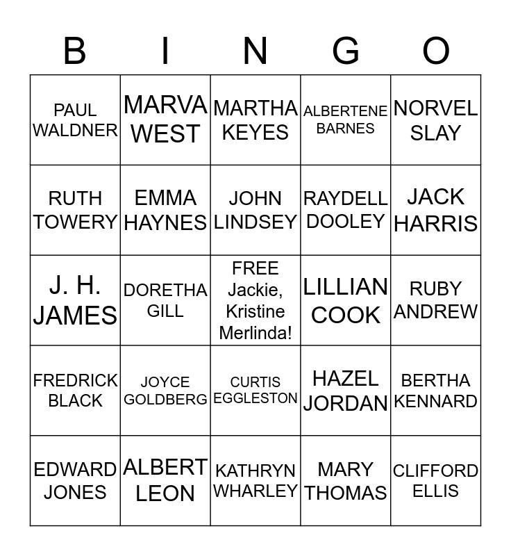 MY NAME BINGO! Bingo Card