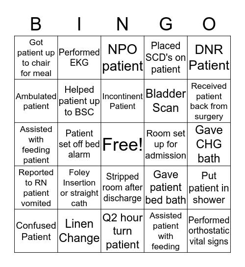 PCT Bingo Card
