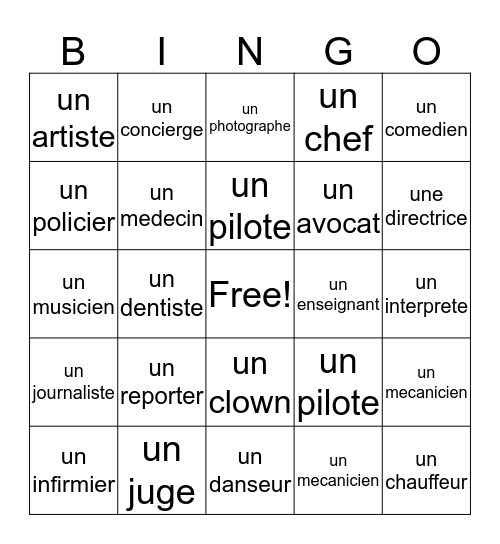 les professions Bingo Card
