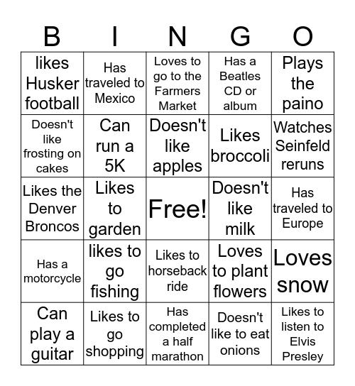 Person Bingo Card 1 Bingo Card