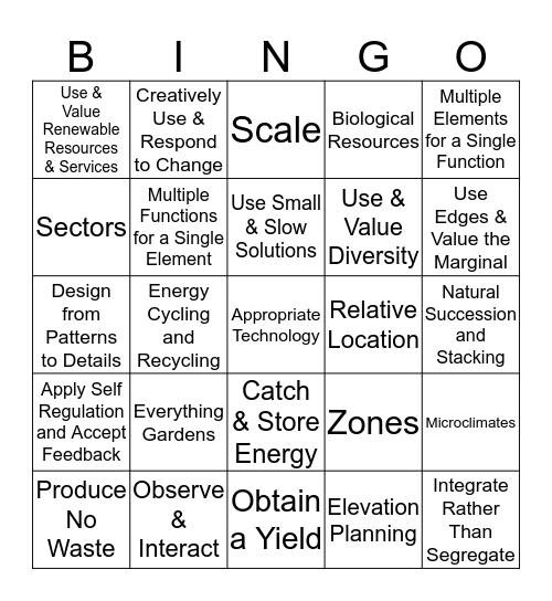 Permaculture Principles Bingo Card