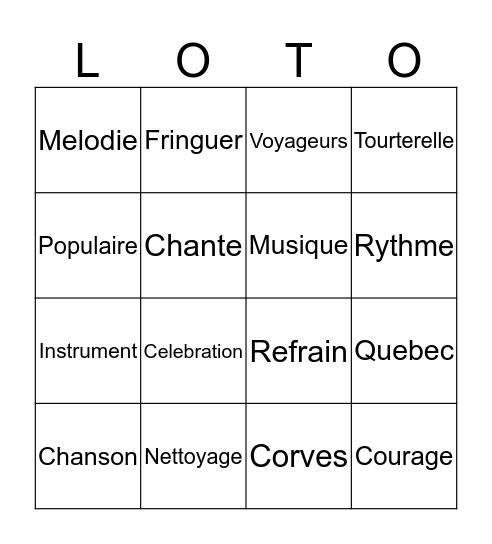 LOTO Bingo Card