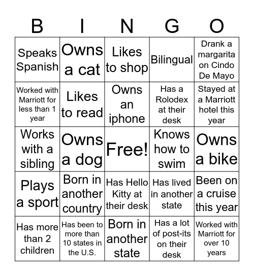 Associate Appreciation Week Bingo Card
