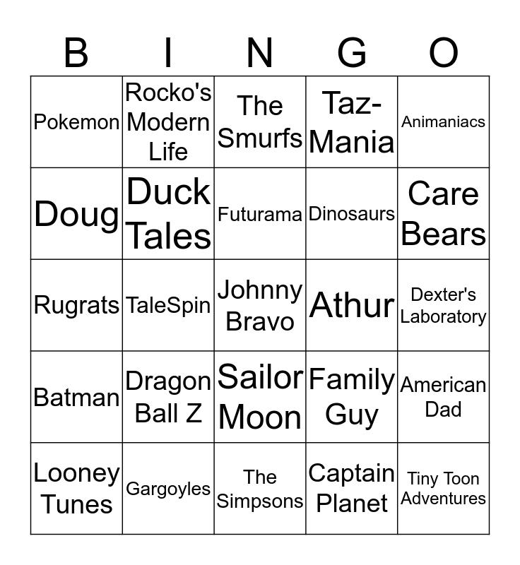 Cartoons Bingo Card