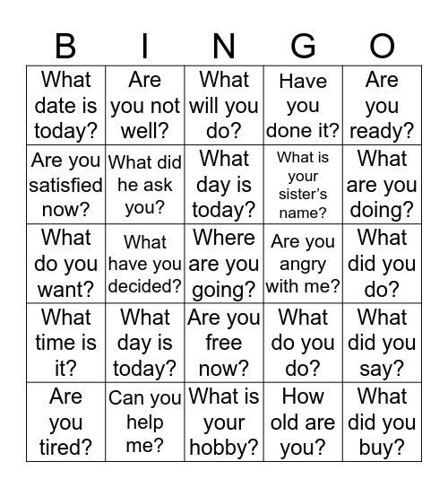 Daily Questions Bingo Card