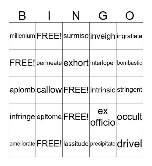 Vocabulary Level F Unit 2 Bingo Card