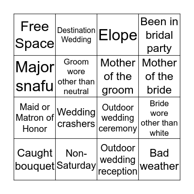 Bride or Guest? Bingo Card