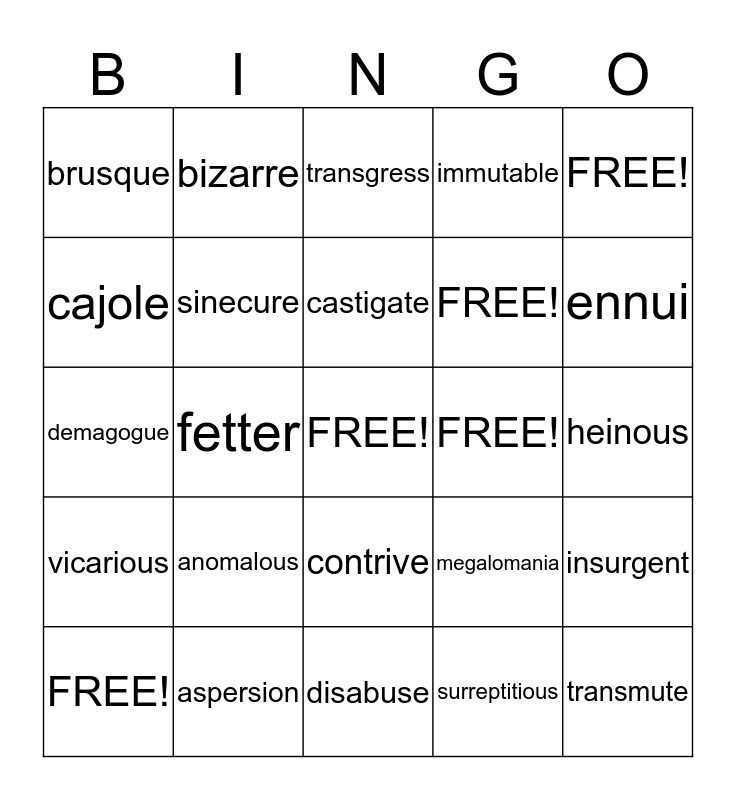 Vocabulary Level F Unit 6 Bingo Card