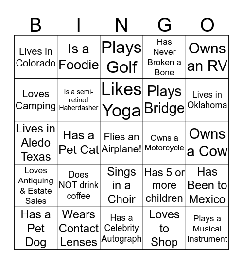 GET TO KNOW EACH OTHER BINGO! Bingo Card
