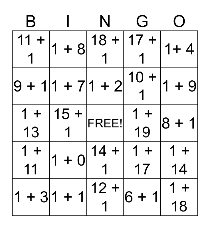 +1 Bingo Card