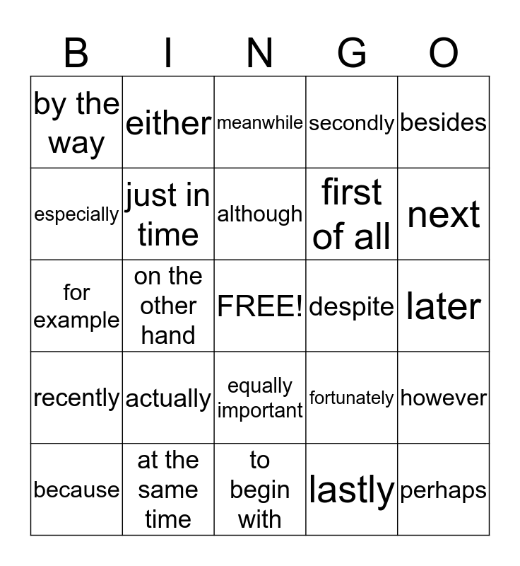 Fantastic Transition Words! Bingo Card